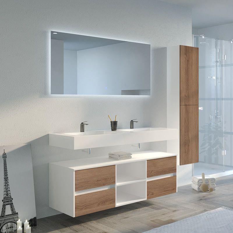 meuble salle de bain visenza 1400 scandinave vintage et blanc