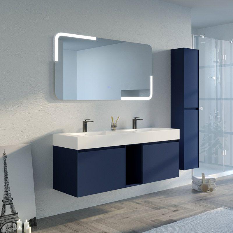 Meubles De Salle De Bain Double Vasque Bleu Saphir Artena 1400