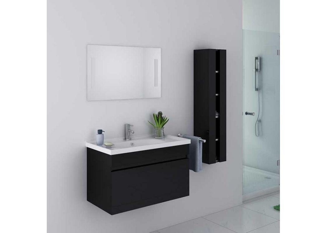 petit meuble de salle de bain noir brillant moderne dis800an