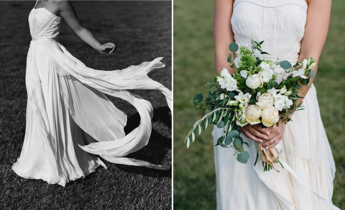 Wedding dress blowing in the wind and bride's bouqet