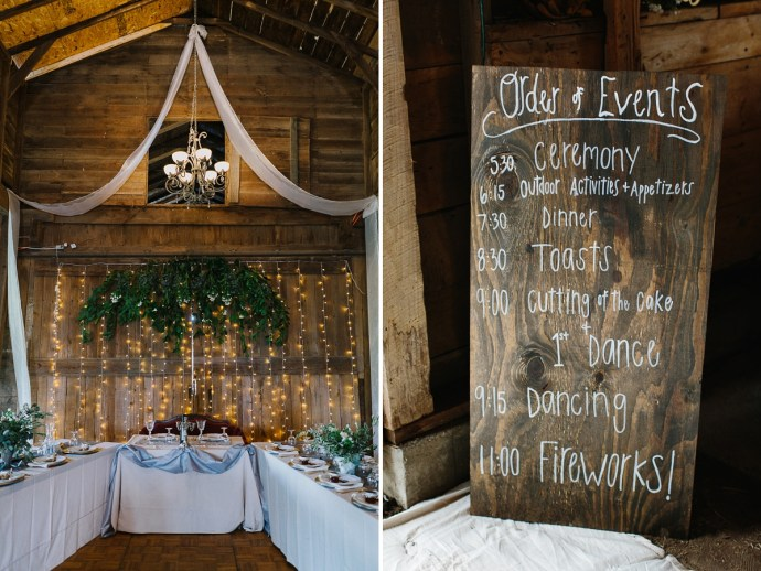 Cute decorative wedding schedule sign and wedding party table