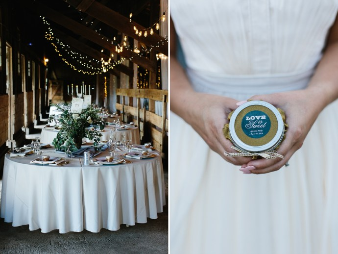 """Wedding Favor """"love is sweet honey"""" and guest tables"""