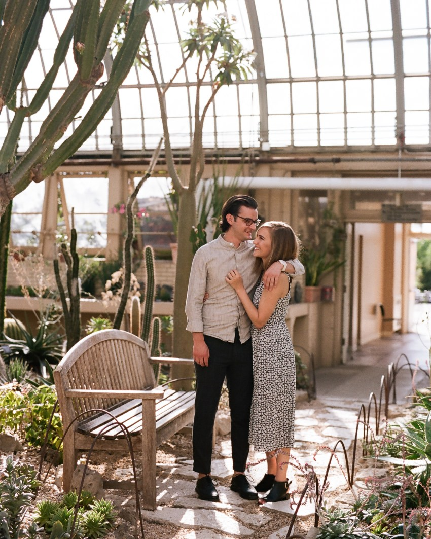 Engaged couple photo shoot in the desert house at conservatory