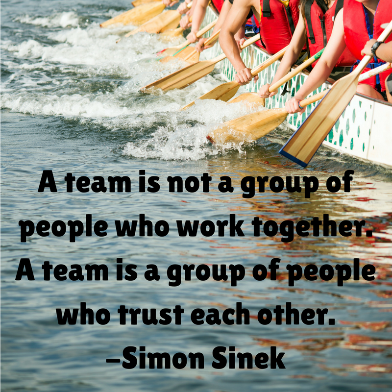 "Image of dragon boat with paddlers accompanied by text ""A team is not a group of people who work together. A team is a group of people who trust each other""."