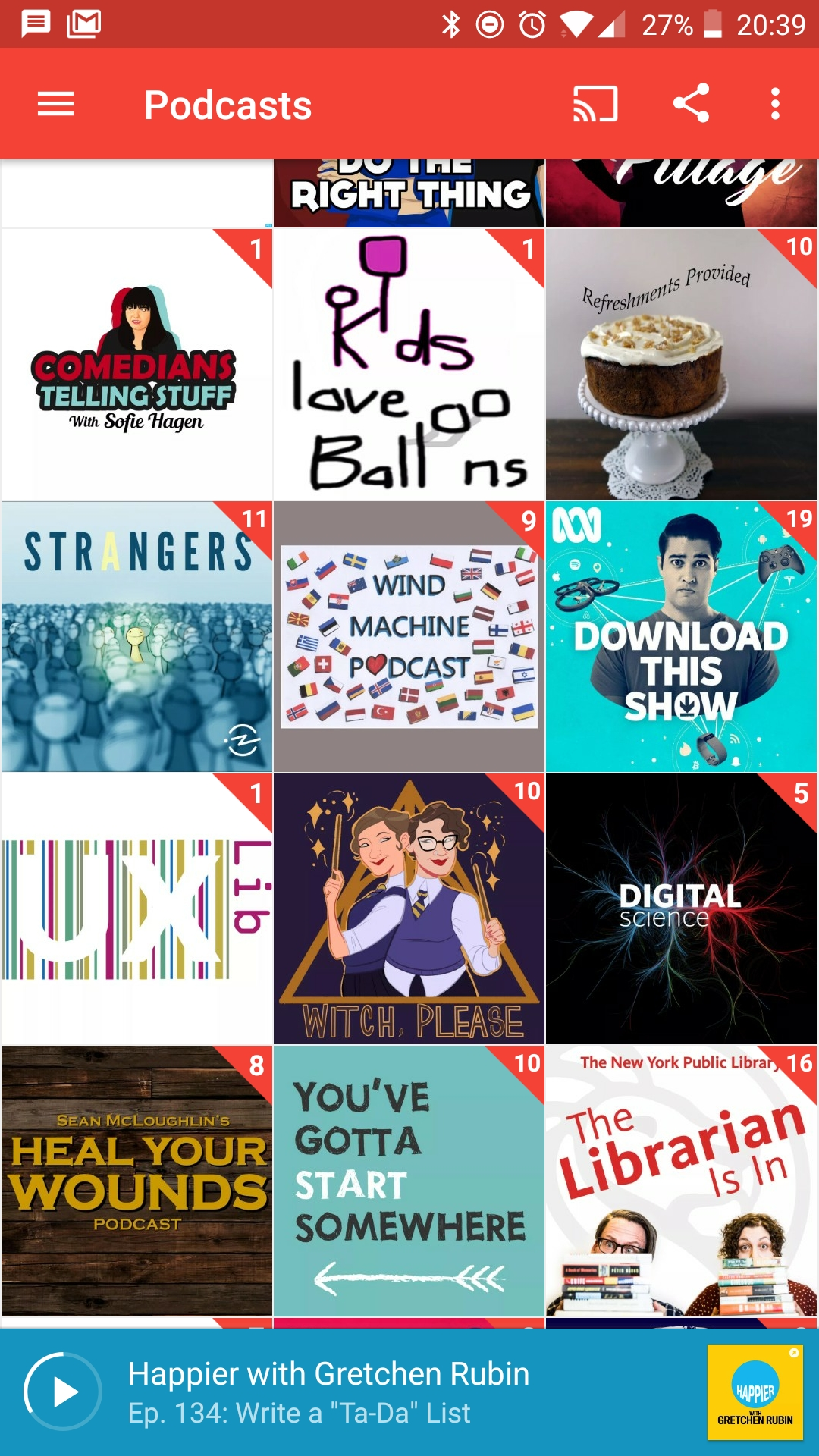 Screenshot from a podcast app showing various podcast tiles