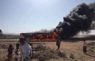 إحتراق حافلة نقل دماعي في منطقة ظبوة بشبوة ونجاة جميع ركابها