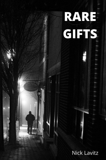 "Cover of ""Rare Gifts"". Black and white image of a dark street with a person walking away."