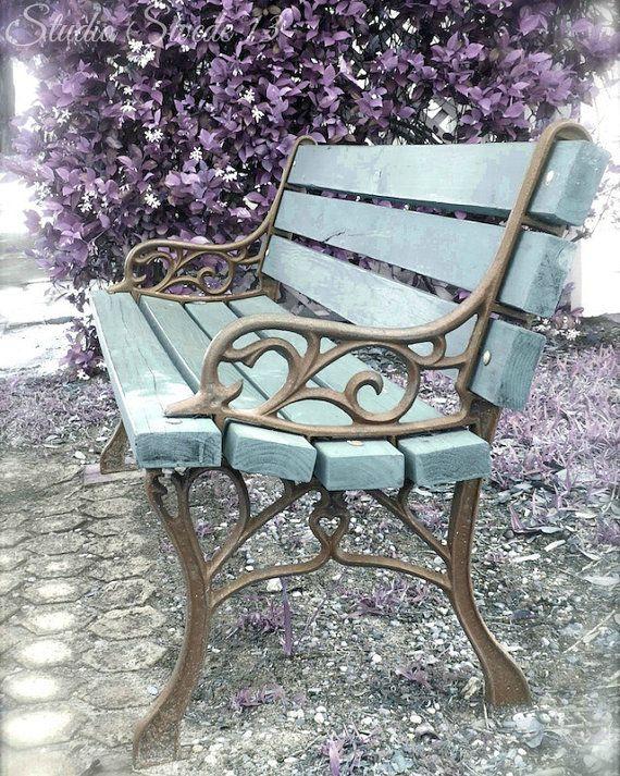 banc de jardin fer forge bicolore bois
