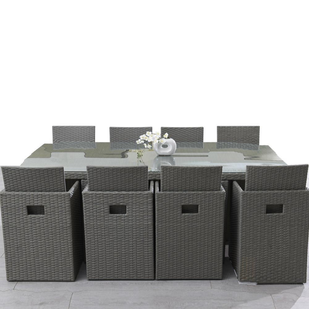 mobilier exterieur resine avec table de