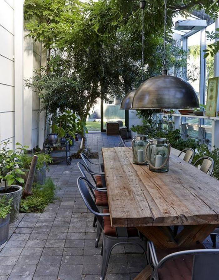 table de jardin design industriel bois