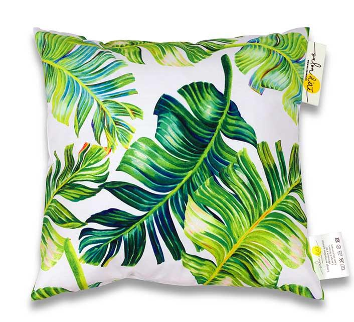 coussin d exterieur waterproof jungle imprime feuilles de palmier 45x45cm blanc