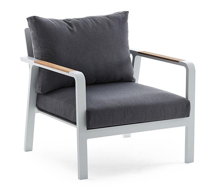 fauteuil de jardin aluminium et teck havana blanc