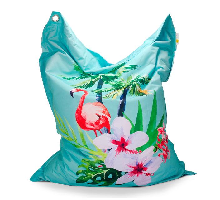 pouf geant exterieur xxl bleu motif flamant rose haut de gamme