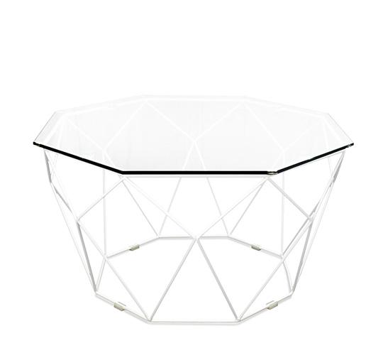 table basse de jardin geometrique metal filaire blanc