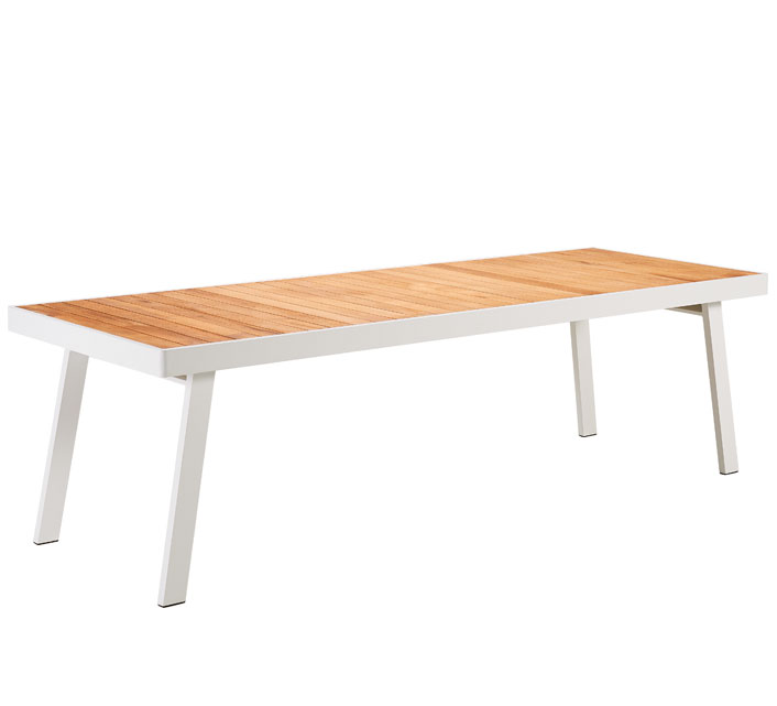 salon de jardin aluminium et bois teck 10 personnes table 260x90 sainte lucie blanc