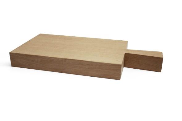 Dickes Holz-Schneidebrett mit Griff Raumgestalt Eiche natur