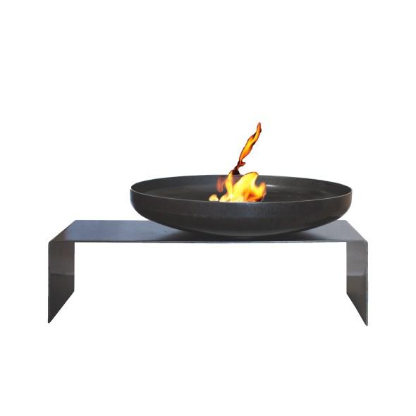 Raumgestalt Feuerschale aus Stahl mit Bank