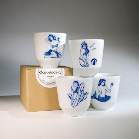 Kaffeebecher Sea Gals aus Porzellan von Ocean Going