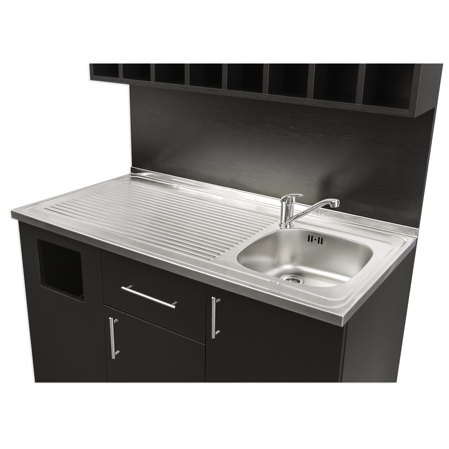 4 color mixing station with sink and stainless steel counter