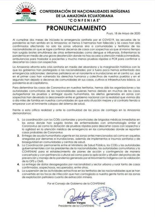 Pronunciamiento CONFENIAE (5-18-20)