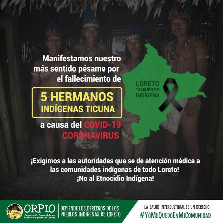 ORPIO: manifestamos nuestro más sentido pésame por el fallecimiento de 5 hermanos indígenas Ticuna (5-6-20)