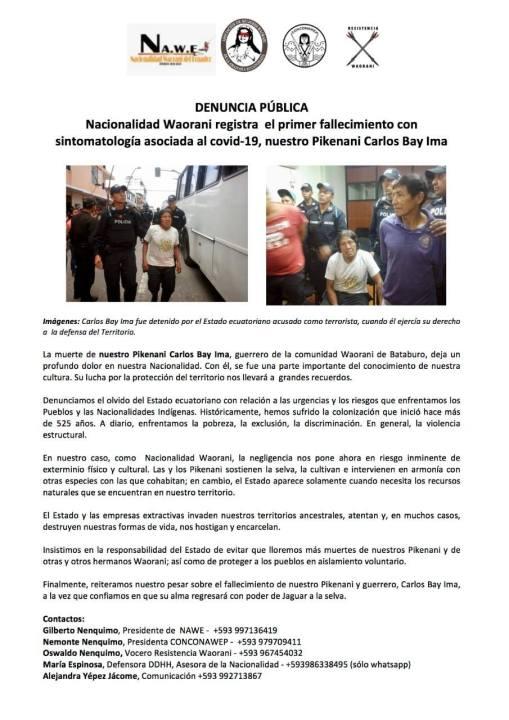 Denuncia pública: Nacionalidad Waorani registra el primer fallecimiento con sintomatología asociada al covid-19, nuestro Pikenani Carlos Bay Ima (5-18-20)