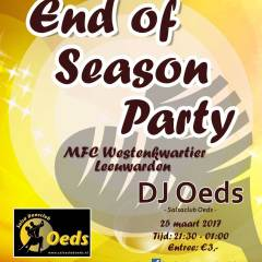 Upcoming: 'End of season Party 25 maart!