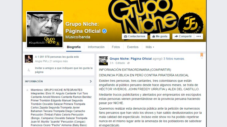 Esta denuncia fue publicada por la página oficial de Facebook del Grupo Niche. (Captura/FacebookGrupoNichePáginaOficial)