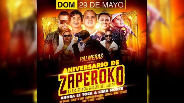 Banner que anuncia la participación del Sonerito de Huacho en el aniversario de Zaperoko. (Imagen: Facebook/RudhyFloresJáuregui)