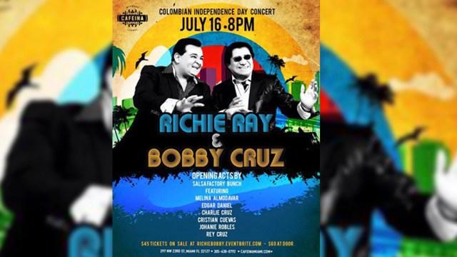 Afiche promocional del concierto de Richie Ray y Bobby Cruz en Miami. (Imagen: Facebook)