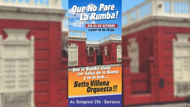 Afiche promocional del show de Betto Villena Orquesta. (Imagen: Facebook)