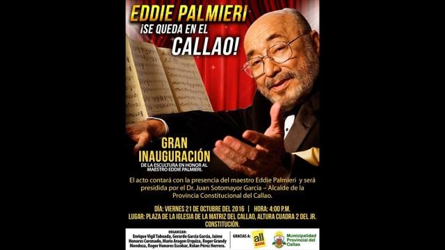 Este es el flyer que anuncia la develación en tributo a Eddie Palmieri. La ceremonia se realizará desde las 4:00 p.m. (Imagen: Facebook/Gerardo García García)