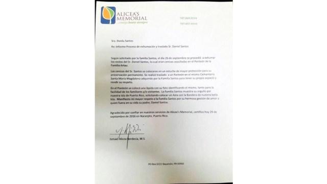 Carta de la funeraria sobre la situación de las cenizas de Daniel Santos.