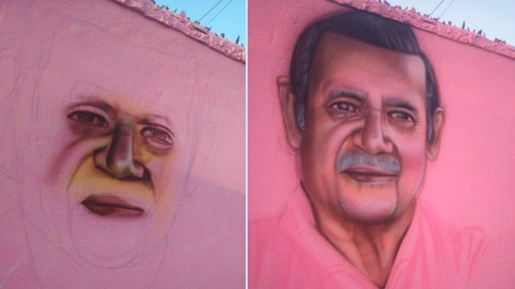 Aquí una muestra de cómo fue evolucionando el mural para Carlitos Loza. (Foto:  Johnny Peña)