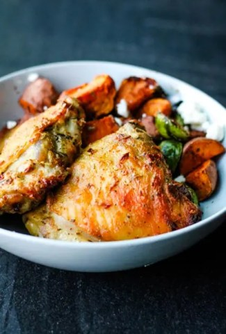 Image of Mustard and Herb Chicken with a side of Brussels sprouts and sweet potatoes