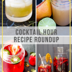 Collage of cocktails for a recipe roundup post (1. Smoke and Rye, 2. Basil Grapefruit Gimlet, 3. Spicy Strawberry Simple Syrup, 4. Sweet Summer Child Sangria)