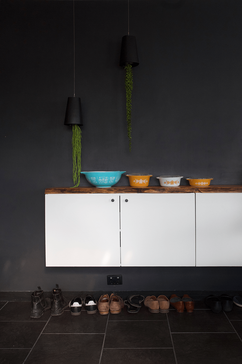 Floating buffet on a black wall
