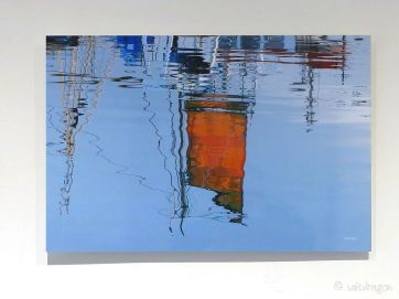 Orange sail at Newlyn 60cm x 40cm on aluminium Dibond