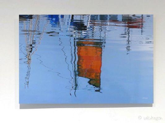 Orange sail at Newlyn 60cm x 40cm on aluminium Dibond