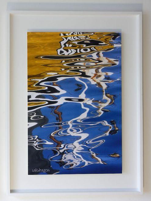 """Semper fidelis"" artwork float mounted and framed in white tulipwood"