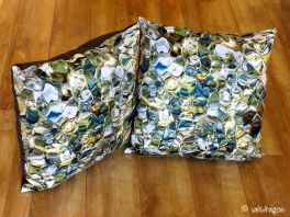 two large square cushions