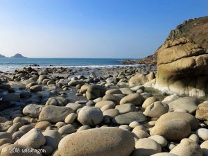 Porth Nanven at the end of the Cot Valley near St Just in Cornwall
