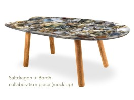 mock-up of surf board table - a collaboration piece between Saltdragon and Bordh