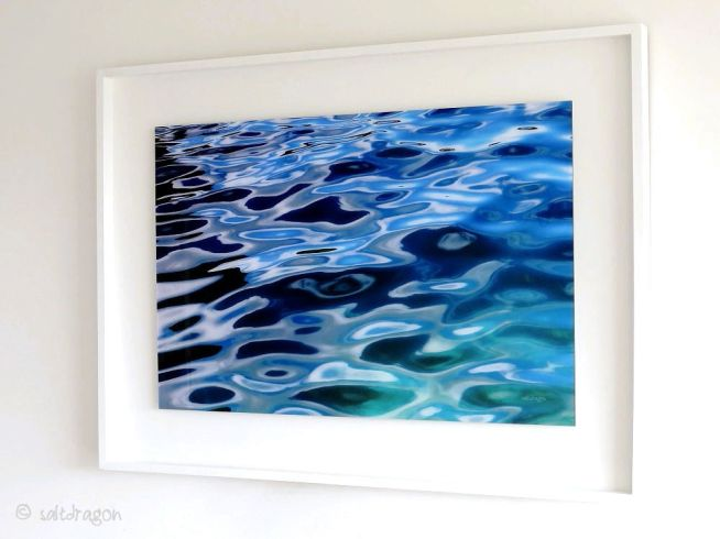 Summer sea at Rosemullion 75cm x 50cm under 2mm acrylic and framed in white tulipwood