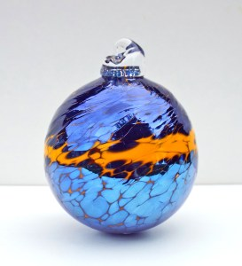 2.©SALT glass studios. Hand Blown Glass Spheres. Orange & Sliver Blue Lustre Opaque.DSCF5653