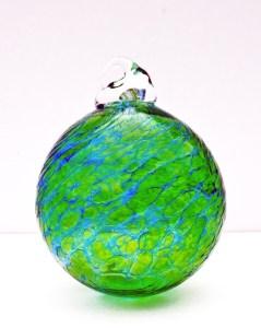 9.©SALT glass studios. Hand Blown Glass Spheres. Emerald Green & Cobalt Blue Transparent.X.DSCF5603