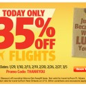 35% Off Select Flights on Southwest TODAY ONLY