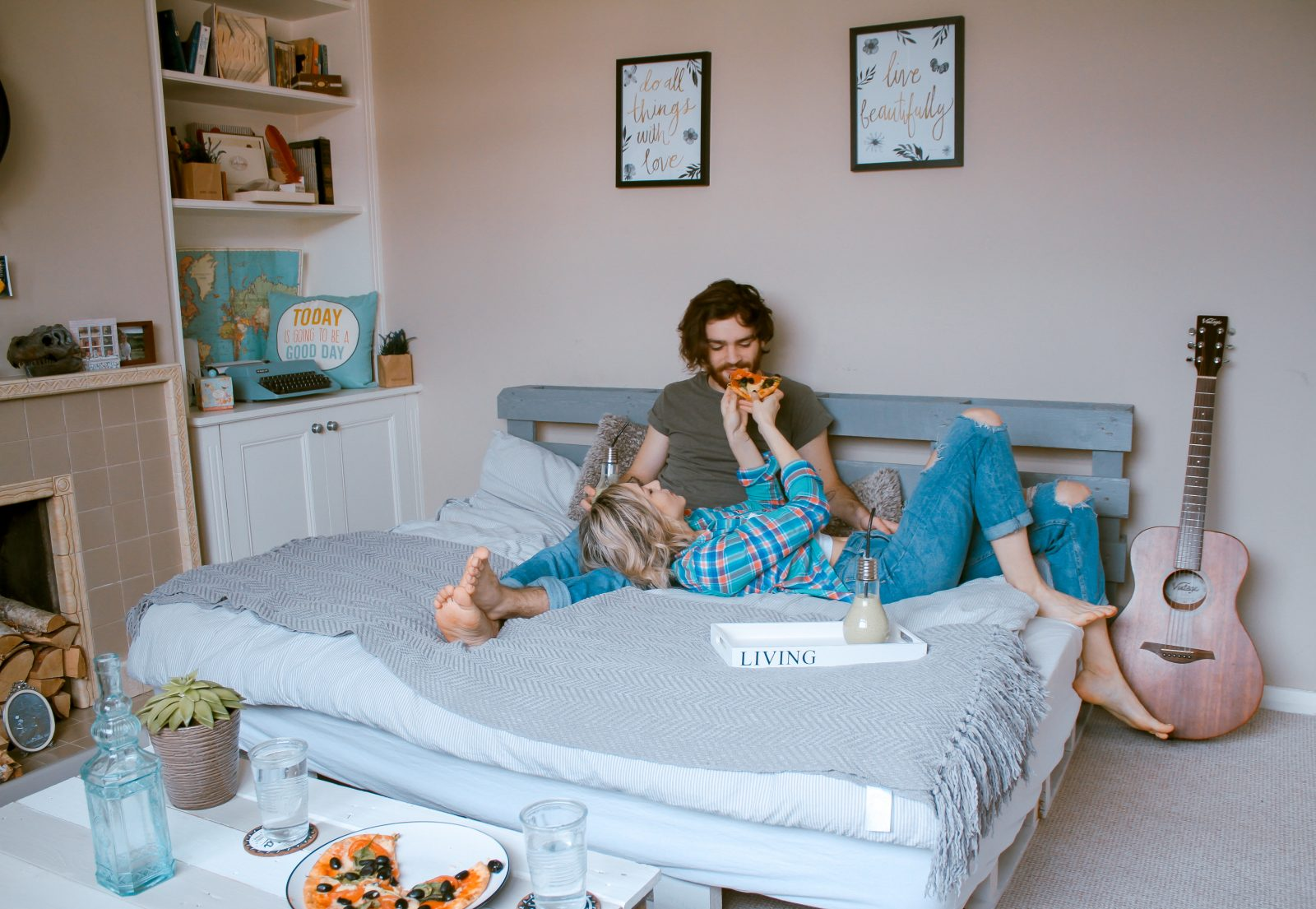 Couple spending quality time together in bed