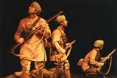 Performers in the 1998 production included left to right Qasim Kazmi, Vincent Ebrahim and Laura Whittard. Mán Melá Theatre Company