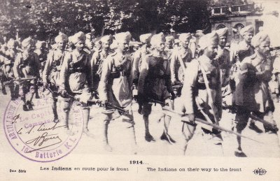 Postcard of the first Indian troops to arrive in France to fight in WW1 in the autumn of 1914 exactly as portrayed In Across the Black Waters. Purchased by Dominic Rai in Flanders in 1998